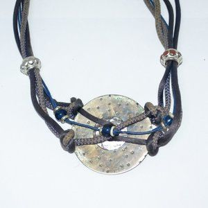 FUNKY Vintage Hippie Boho Metal & Leather Necklace